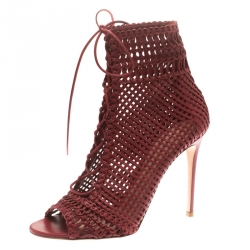 ae821c7fcad9 Gianvito Rossi Burgundy Woven Leather Marnie Lace Up Peep Toe Ankle Boots  Size 41