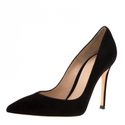 6ba26bd2fc7 Gianvito Rossi Black Suede Pointed Toe Pumps Size 35.5