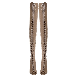 Gianvito Rossi Beige Satin Marie Lace Up Over The Knee Boots Size 40