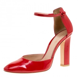 c6873faa1 Gianvito Rossi Tabasco Red Patent Leather Ankle Strap D orsay Pumps Size  39.5