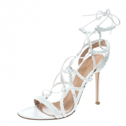 832463a5ad7 Gianvito Rossi White Braided Leather Cage Sandals Size 37