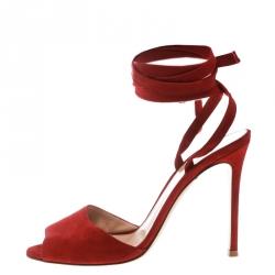 e35e8893e0e Gianvito Rossi Red Suede Ankle Wrap Peep Toe Sandals Size 37