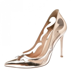 e5d6d2a3893 Gianvito Rossi Rose Gold Leather and PVC Plexi Cut Out Detail Pointed Toe  Pumps Size 39