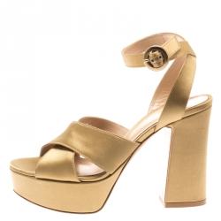 dc025b8bea0 Gianvito Rossi Gold Satin Block Heel Cross Strap Platform Sandals Size 35.5