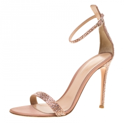 e7ba8698be Gianvito Rossi Pale Pink Crystal Embellished Satin Portofino Ankle Strap  Open Toe Sandals Size 40
