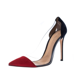 Gianvito Rossi Red/Blue Suede Plexi Ponted Toe Pumps Size 41