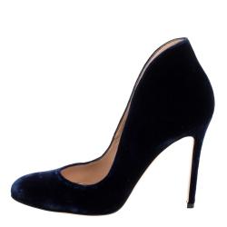 Gianvito Rossi Presidential  Blue Velvet Vamp Pumps Size 37.5