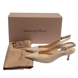 Gianvito Rossi Beige Leather Slingback Pointed Toe Pumps Size 36