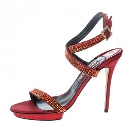cf5d059a820 Gina Red Crystal Embellished Suede Ankle Wrap Open Toe Sandals Size 41