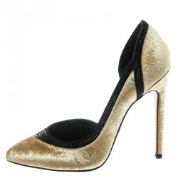 0f6b5bed3e0 Gina Gold Paisley Print Velvet Crystal Studded D orsay Pointed Toe Pumps  Size 39