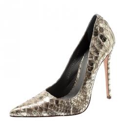 0aac444e2 حذاء كعب عالي جينا مقدمة مدببة جلد ثعبان ذهبي ميتالك مقاس 38.5