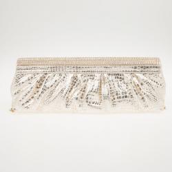 Gina Silver Python Embellished Clutch
