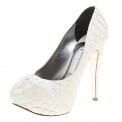 484f87fc11f Gina White Python Leather Claire Hoodie Platform Pumps Size 37