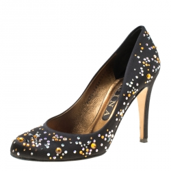 fac59de1d6b9 Gina Black Crystal Studded Satin Pumps Size 38