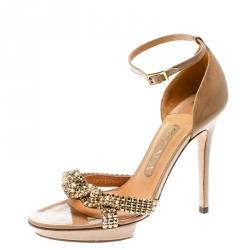e58894e980d Gina Beige Leather Crystal Embellished Ankle Strap Platform Sandals Size 37