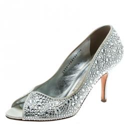 acaa1af71af Gina Light Grey Satin Crystal Embellished Peep Toe Pumps Size 37