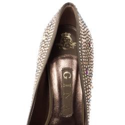 Gina Blush Grey Crystal Embellished Satin Pumps Size 38.5