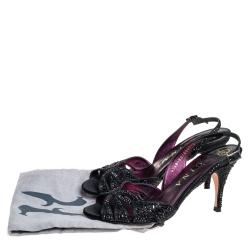Gina Black Leather Crystal Embellished Slingback Sandals Size 38