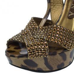 Gina Brown Crystal Embellished Leopard Print Sandals Size 38