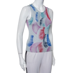 Giorgio Armani Grey Watercolor Printed Perforated Knit Tank Top XS