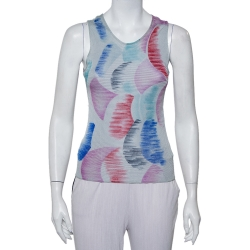 Giorgio Armani Grey Watercolor Printed Perforated Knit Tank Top XS