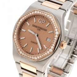 GP Girard Perregaux 18K Rose Gold Stainless Steel Diamond Laureto 80189 Women's Wristwatch 34 mm