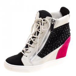 675e4871fda Giuseppe Zanotti Multicolor Studded Suede Lamay High Top Sneakers Size 40
