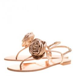 Giuseppe Zanotti Blush Pink Satin and Leather Crystal Embellished Flower Flat Thong Sandals Size 38
