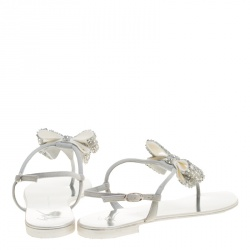 Giuseppe Zanotti Grey Suede Rock Crystal Embellished Bow Flat Thong Sandals Size 37.5