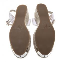 Giuseppe Zanotti Beige Velvet Crystal Embellished Espadrille Sandals Size 40