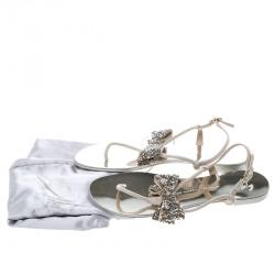 Giuseppe Zanotti Beige Suede Rock Crystal Embellished Bow Flat Thong Sandals Size 38.5