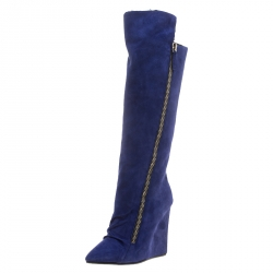 7ed9d5b488bb Giuseppe Zanotti Blue Suede Faux Fur Lined Wedge Knee Boots Size 37