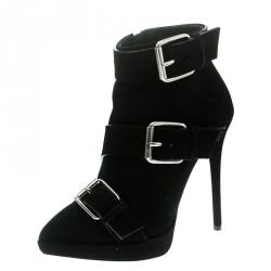 b4d7b8d4893ac Giuseppe Zanotti Black Buckled Suede Platform Ankle Boots Size 37