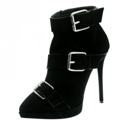 edba47aa8830 Giuseppe Zanotti Black Buckled Suede Platform Ankle Boots Size 38