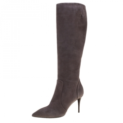 59bc0cb71 Giuseppe Zanotti Grey Suede Pointed Toe Knee Length Boots Size 38