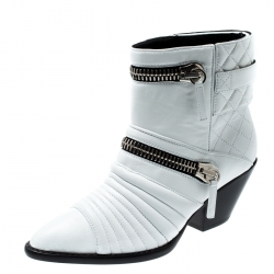 d5384ebfc3 Giuseppe Zanotti White Quilted Leather Ankle Boots Size 38