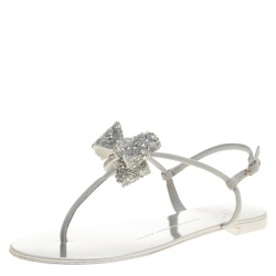 1c98f8643df5c Giuseppe Zanotti Grey Suede Rock Crystal Embellished Bow Flat Thong Sandals  Size 40