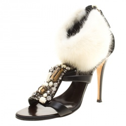a966c4bd138f1 Giuseppe Zanotti Black Crystal Embellished Leather with Fur Ankle Cuff Peep  Toe Sandals Size 36.5