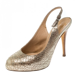 503b150faff Giuseppe Zanotti Metallic Gold Python Embossed Leather Slingback Platform  Sandals Size 37