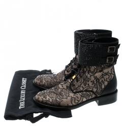 René Caovilla Black Lace Crystal Cuff Combat Ankle Boots Size 39