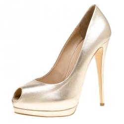 f3b41771265ab Giuseppe Zanotti Metallic Dull Gold Leather Peep Toe Platform Pumps Size 40