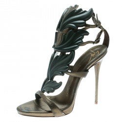 17f9c25323fab Giuseppe Zanotti Olive Green Leather Argent Metal Wing Embellished Strappy Sandals  Size 38