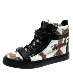 a90c2925e6e62 Giuseppe Zanotti Tricolor Calf Hair And Leather Trim Camouflage High Top  Sneakers Size 39.5
