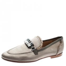 df99e4412964 Giuseppe Zanotti Beige Satin Letizia Crystal Embellished Loafers Size 36