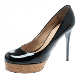 a1f0eacb3d Giuseppe Zanotti Black Patent Leather Cork Platform Pumps Size 38.5