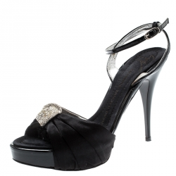 b418edeee91cd Giuseppe Zanotti Black Satin And Patent Leather Crystal Embellished  Platform Ankle Strap Sandals Size 35