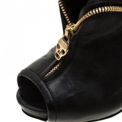 Alexander McQueen Black Leather Faithful Skull Peep Toe Ankle Boots Size 36.5