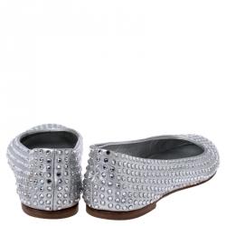 Giuseppe Zanotti Silver Crystal Embellished Leather Ballet Flats Size 36