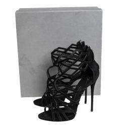 Giuseppe Zanotti Black Suede Cutout Accet Sandals Size 41