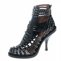 e90f96962140 Givenchy Black Leather Studded Gladiator Sandals Size 38.5